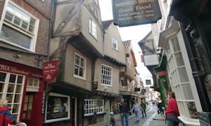 The Shambles , a medieval street from Tudor times.